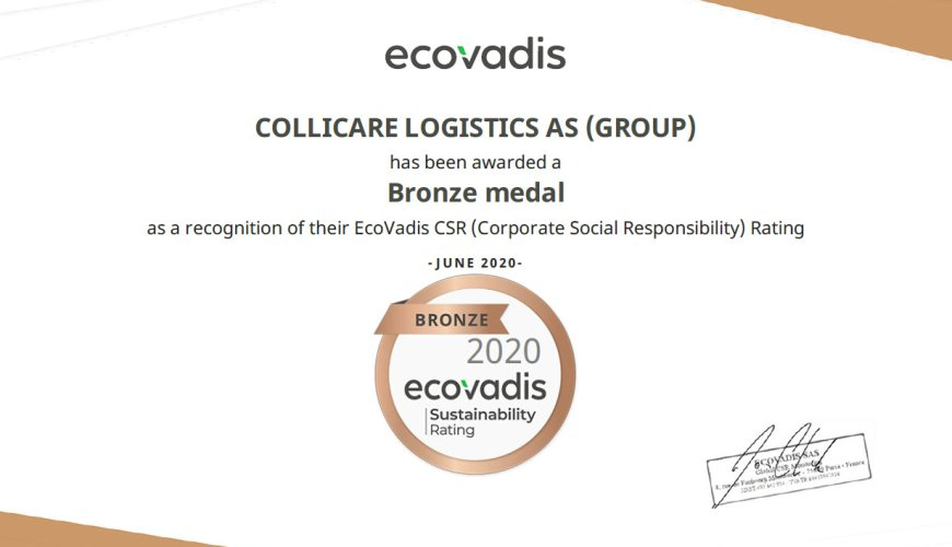 Diploma of a bronze medal from ecovalis sustainability rating handed to ColliCare Logistics in 2020